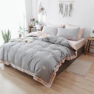 2018文艺少女小刺绣(高清图)字母艺术四件套 1.8m(6英尺)床 灰色