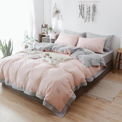2018文艺少女小刺绣(高清图)字母艺术四件套 1.8m(6英尺)床 粉色