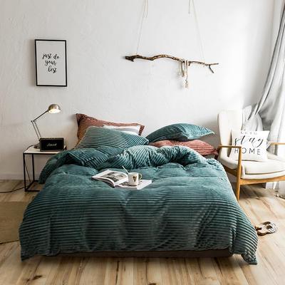2018波浪绒四件套 1.8m(6英尺)床 绿