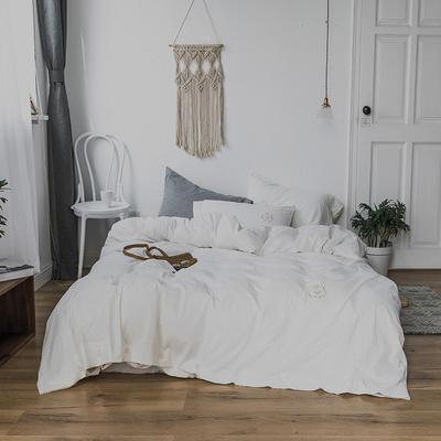 纯色色织水洗棉四件套 标准(1.5m-1.8m床) 玲珑白