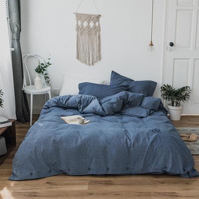 纯色色织水洗棉四件套 标准(1.5m-1.8m床) 天际蓝