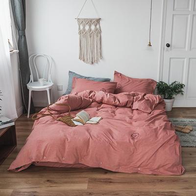 纯色色织水洗棉四件套 标准(1.5m-1.8m床) 胭脂红