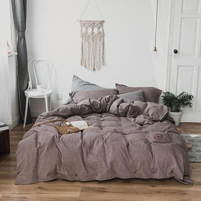 纯色色织水洗棉四件套 标准(1.5m-1.8m床) 朱蕉棕