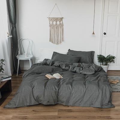 纯色色织水洗棉四件套 标准(1.5m-1.8m床) 鸽子灰