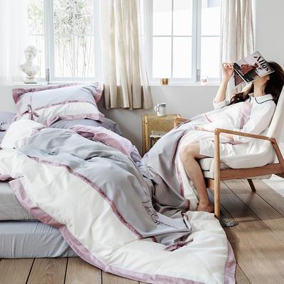 2019新款60长绒棉刺绣四件套 1.8m(6英尺)床 卡布奇诺-灰