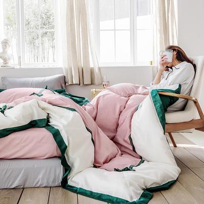 2019新款60长绒棉刺绣四件套 1.8m(6英尺)床 卡布奇诺-绿条