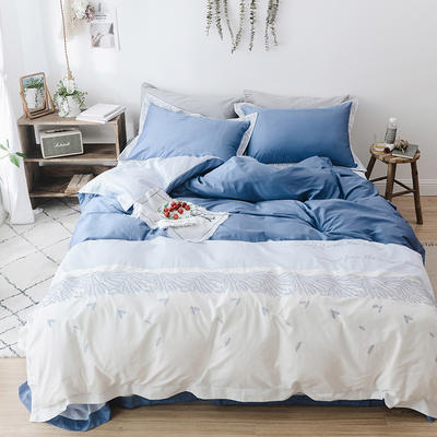 2019新款60长绒棉刺绣四件套 1.8m(6英尺)床 纷飞-蓝