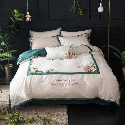 2019新款60长绒棉刺绣四件套 1.8m(6英尺)床 苏黎世-白