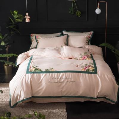 2019新款60长绒棉刺绣四件套 1.8m(6英尺)床 苏黎世-粉