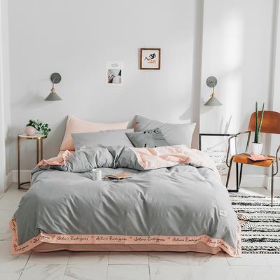 2019新款全棉刺绣系列四件套 1.2单人床(床单款) 少女刺绣 灰