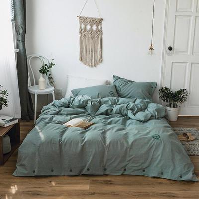 2019新款色织水洗棉四件套 1.2单人床(床单款) 森林绿