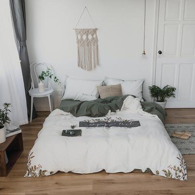 2019新款水洗棉刺绣原创工艺款四件套 1.2单人床(床单款) 拉脱维亚(白)
