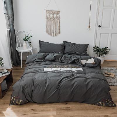 2019新款水洗棉刺绣原创工艺款四件套 1.2单人床(床单款) 拉脱维亚(黑)