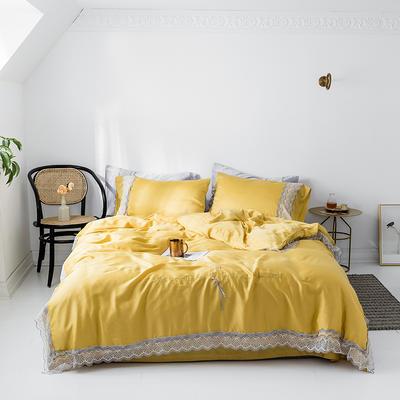 2019新款60s天丝素色蕾丝知性风四件套 1.5m(5英尺)床 阳光黄