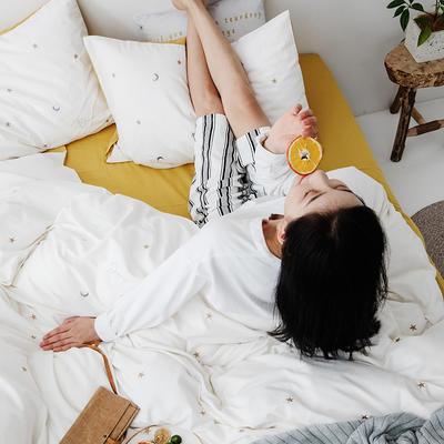 2019新款水洗棉刺绣原创工艺款四件套 1.8m床(床单款) 星辰 (白黄)