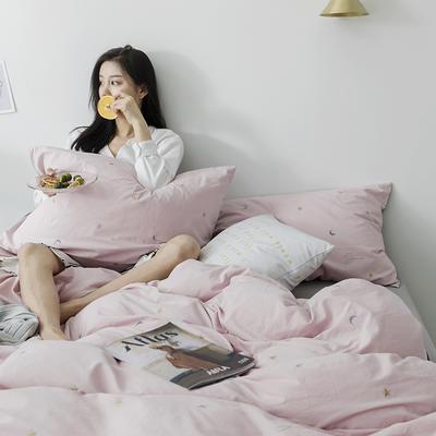 2019新款水洗棉刺绣原创工艺款四件套 1.8m床(床单款) 星辰 (粉灰)