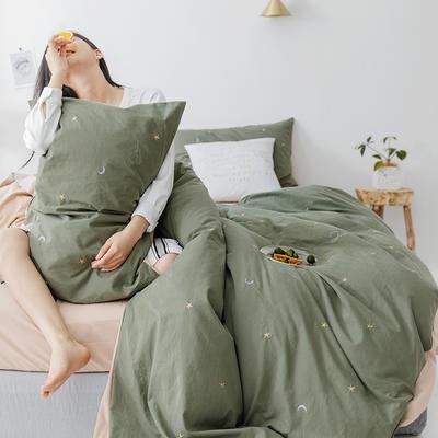 2019新款水洗棉刺绣原创工艺款四件套 1.8m床(床单款) 星辰 (绿驼)