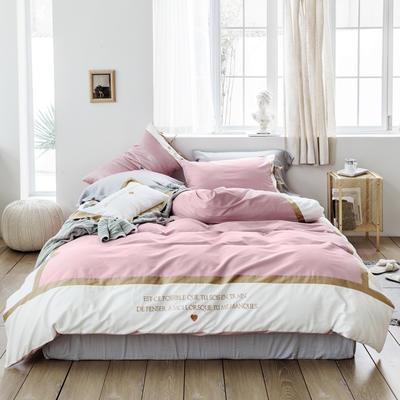 2019新款60长绒棉刺绣四件套 1.8m(6英尺)床 戴安娜(粉)