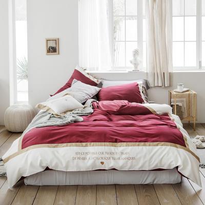 2019新款60长绒棉刺绣四件套 1.8m(6英尺)床 戴安娜(红)