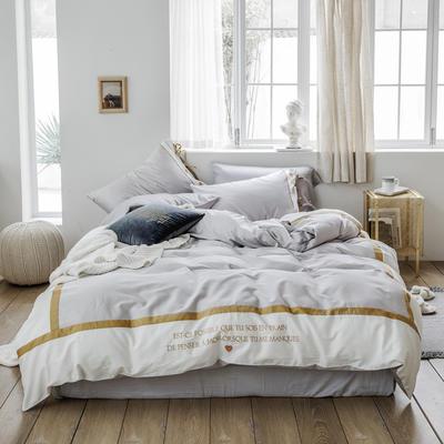 2019新款60长绒棉刺绣四件套 1.8m(6英尺)床 戴安娜(灰)