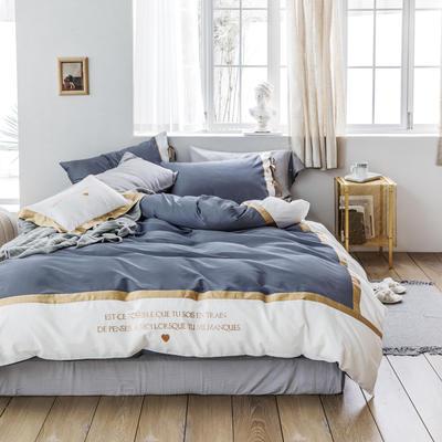 2019新款60长绒棉刺绣四件套 1.8m(6英尺)床 戴安娜(兰)
