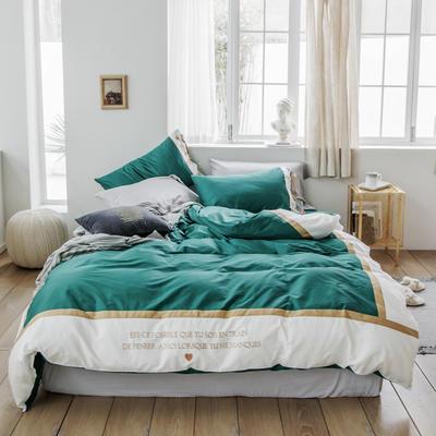 2019新款60长绒棉刺绣四件套 1.8m(6英尺)床 戴安娜(绿)