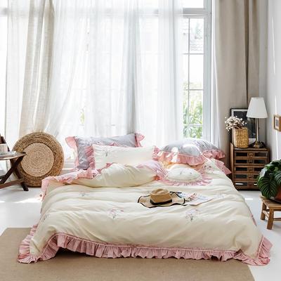2019新款60长绒棉刺绣四件套 1.8m(6英尺)床 手捧花-黄