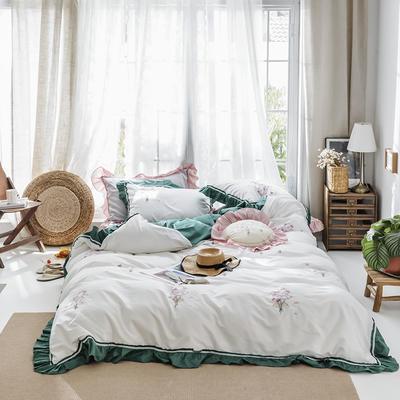 2019新款60长绒棉刺绣四件套 1.8m(6英尺)床 手捧花 绿