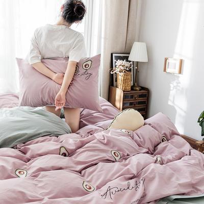 2019新款水洗棉刺绣原创工艺款四件套 1.8m床(床单款) 牛油果 粉