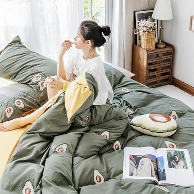 2019新款水洗棉刺绣原创工艺款四件套 1.8m床(床单款) 牛油果 绿