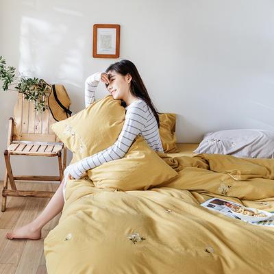 2019新款水洗棉刺绣原创工艺款四件套 1.8m床(床单款) 小雏菊 姜黄