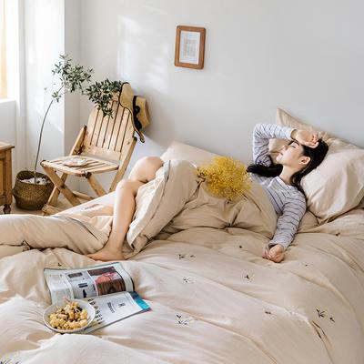 2019新款水洗棉刺绣原创工艺款四件套 1.8m床(床单款) 小雏菊 浅驼