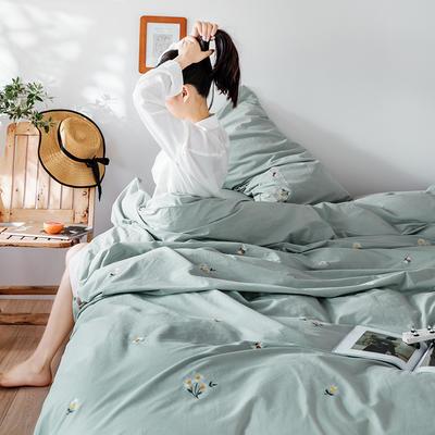 2019新款水洗棉刺绣原创工艺款四件套 1.8m床(床单款) 小雏菊 水绿