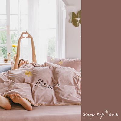 2019新款婴儿绒四件套(水晶绒法莱绒宝宝绒牛奶绒) 1.5m床单款四件套 马克莫杰-脏粉