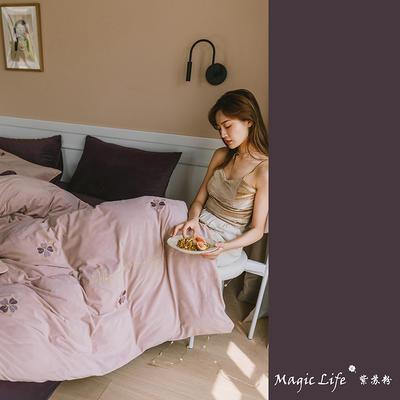 2019新款婴儿绒四件套(水晶绒法莱绒宝宝绒牛奶绒) 1.5m床单款四件套 四叶草-粉紫