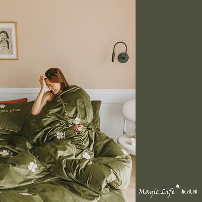 2019新款婴儿绒四件套(水晶绒法莱绒宝宝绒牛奶绒) 1.5m床单款四件套 四叶草-橄榄绿