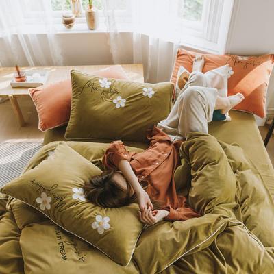 2019新款加厚保暖婴儿绒四件套 1.5m床单款四件套 马克莫杰-豆蔻绿