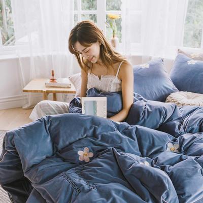 2019新款加厚保暖婴儿绒四件套 1.8m床单款四件套 马克莫杰-雾霾蓝