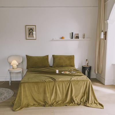2019新款婴儿绒单品床单 单床单:160*230cm 豆蔻绿