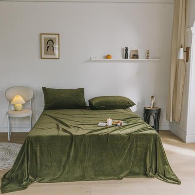 2019新款婴儿绒单品床单 单床单:160*230cm 橄榄绿