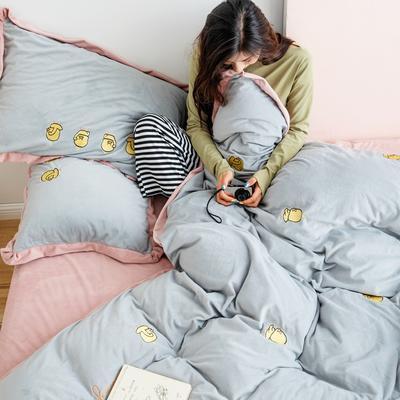 2019新款婴儿绒绣花四件套 1.8m(6英尺)床 小黄鸭-灰