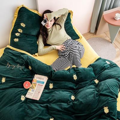 2019新款婴儿绒绣花四件套 1.8m(6英尺)床 小黄鸭-绿