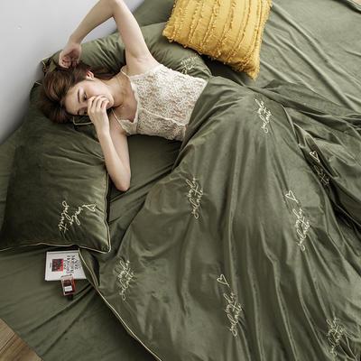 2019新款婴儿绒刺绣保暖四件套 1.8m(6英尺)床 soulmate 灵魂伴侣-橄榄绿