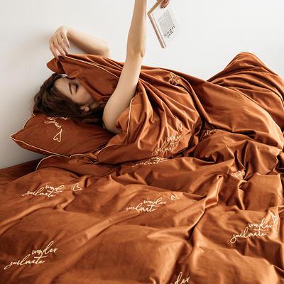 2019新款婴儿绒刺绣保暖四件套 2.0m(6.6英尺)床 soulmate 灵魂伴侣-焦糖