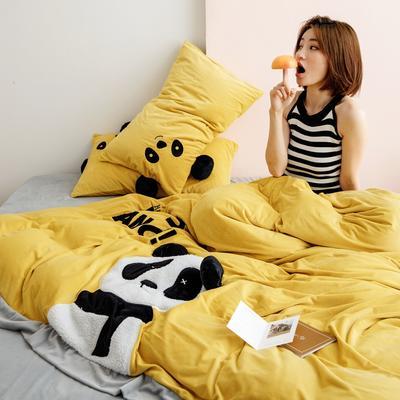 2019新款婴儿绒刺绣保暖四件套 2.0m(6.6英尺)床 熊猫-浅黄