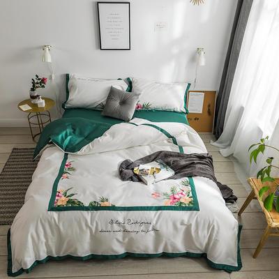 2019新款60刺绣工艺款四件套 2.0m(6.6英尺)床单款 苏黎世(白)