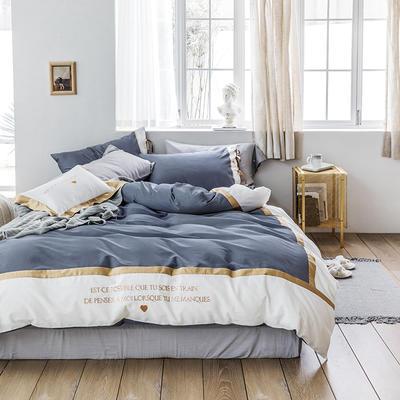 2019新款60刺繡工藝款四件套 1.8m(6英尺)床單款 戴安娜(蘭)