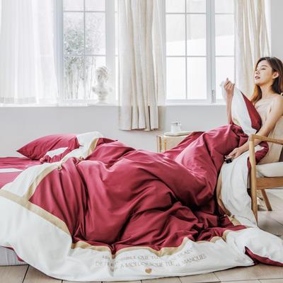 2019新款60長絨棉刺繡四件套 1.8m(6英尺)床 戴安娜(紅)