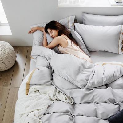 2019新款60長絨棉刺繡四件套 1.5m(5英尺)床 戴安娜(灰)