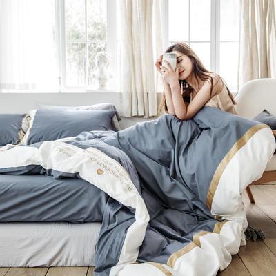 2019新款60長絨棉刺繡四件套 1.5m(5英尺)床 戴安娜(蘭)